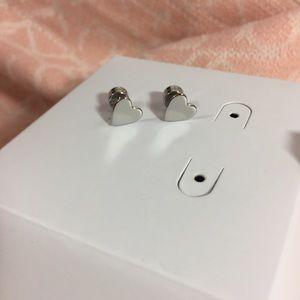 MK NWT Silver Heart Earrings